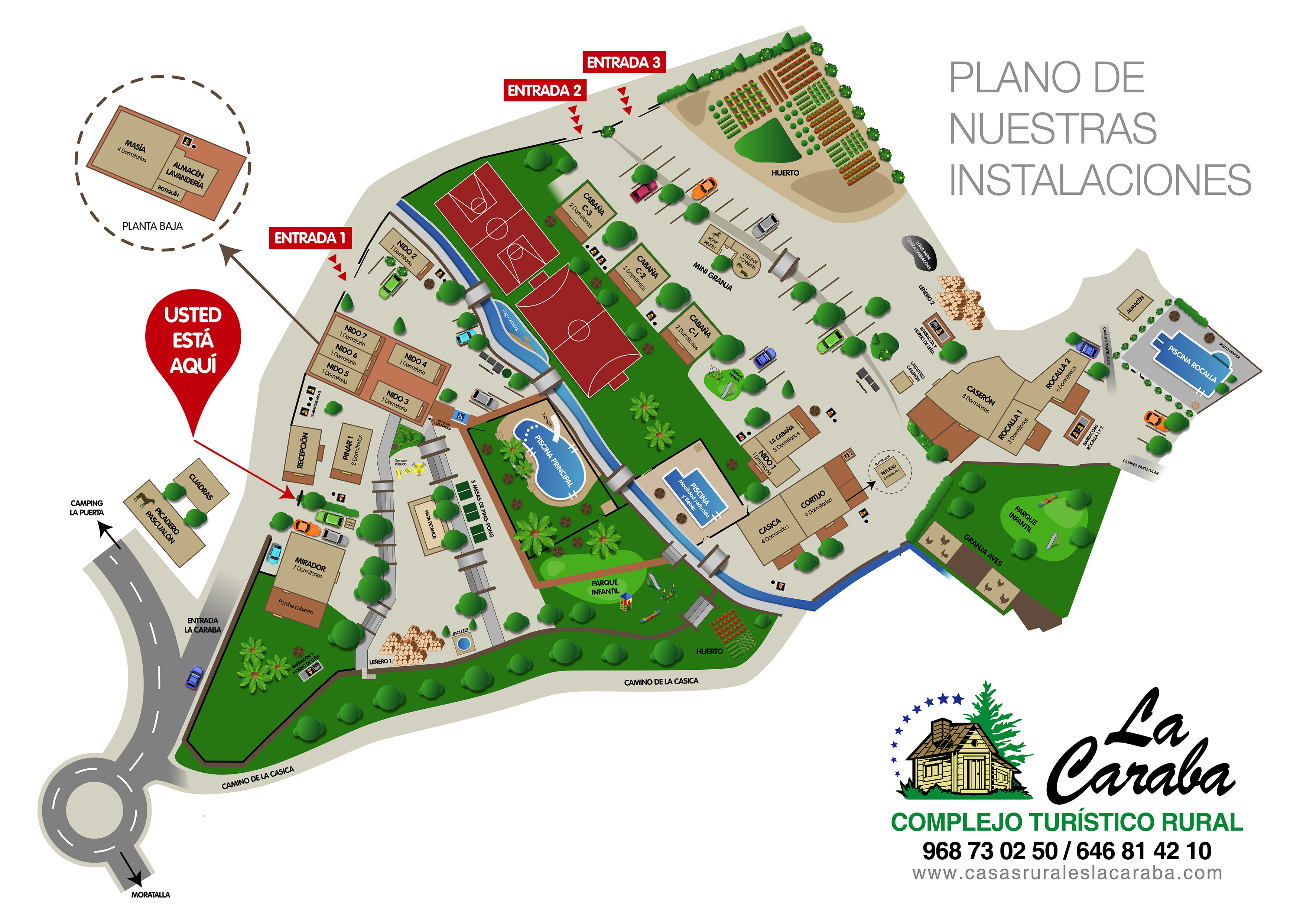 Plano casas rurales La Caraba en Moratalla